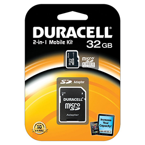 Carte Mémoire Micro SDHC CL4 2IN 1 32GB DURACELL