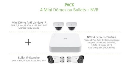 Pack 4 Caméra IP + NVR UNIVIEW
