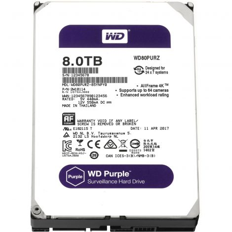 "WESTERN DIGITAL Disque dur interne 3.5"" 8To, Purple (surveillance)(WD80PURZ)"